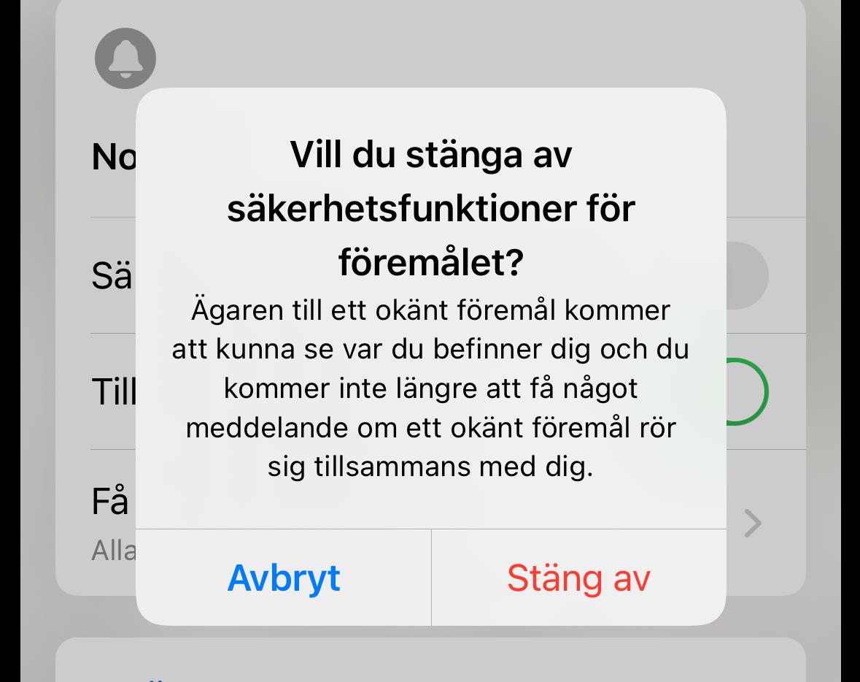 Skärmdump från meddelande på iPhone