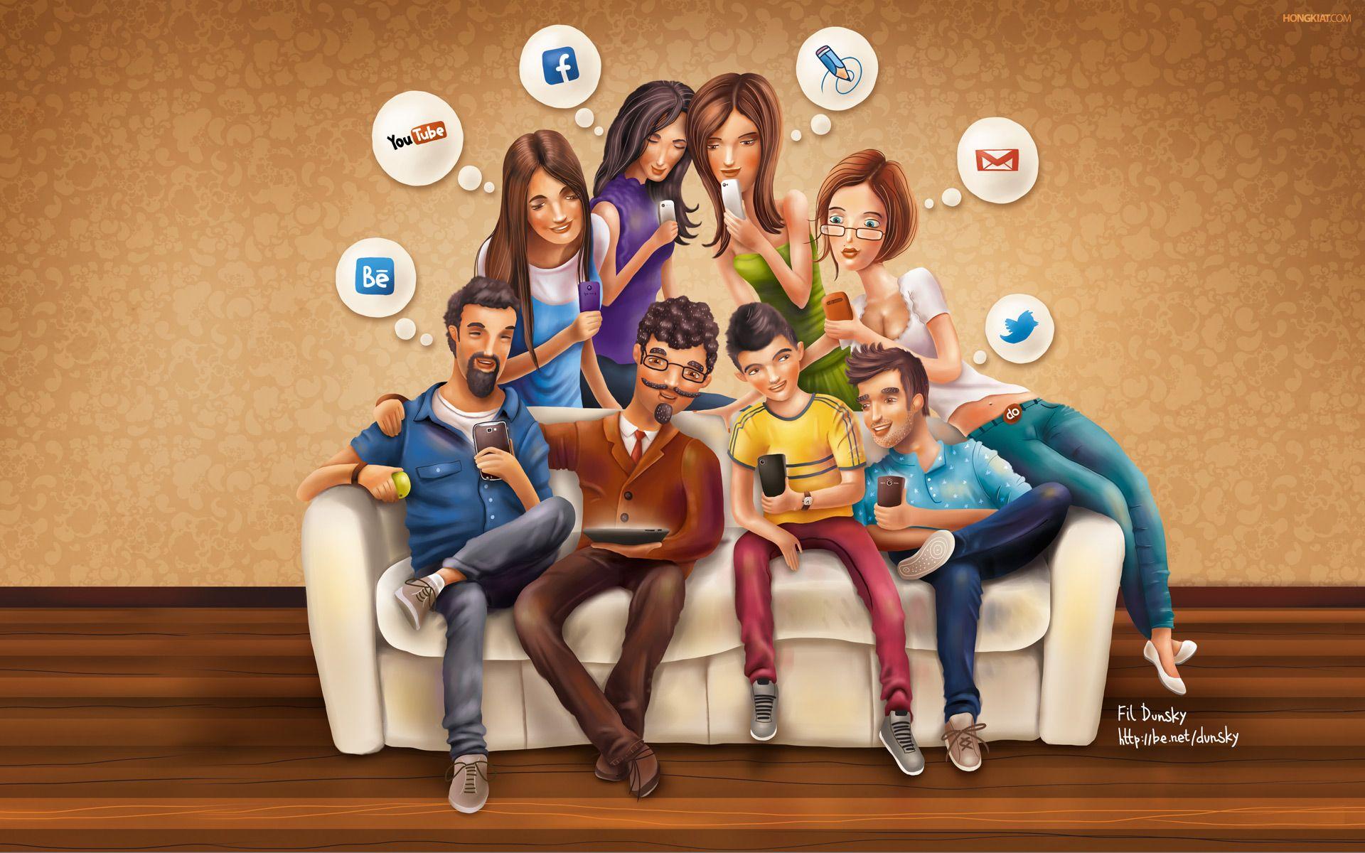 Människor med mobila enheter som sitter i, eller står bakom, en soffa. Alla tittar på sin telefon och tänker på sociala medier.