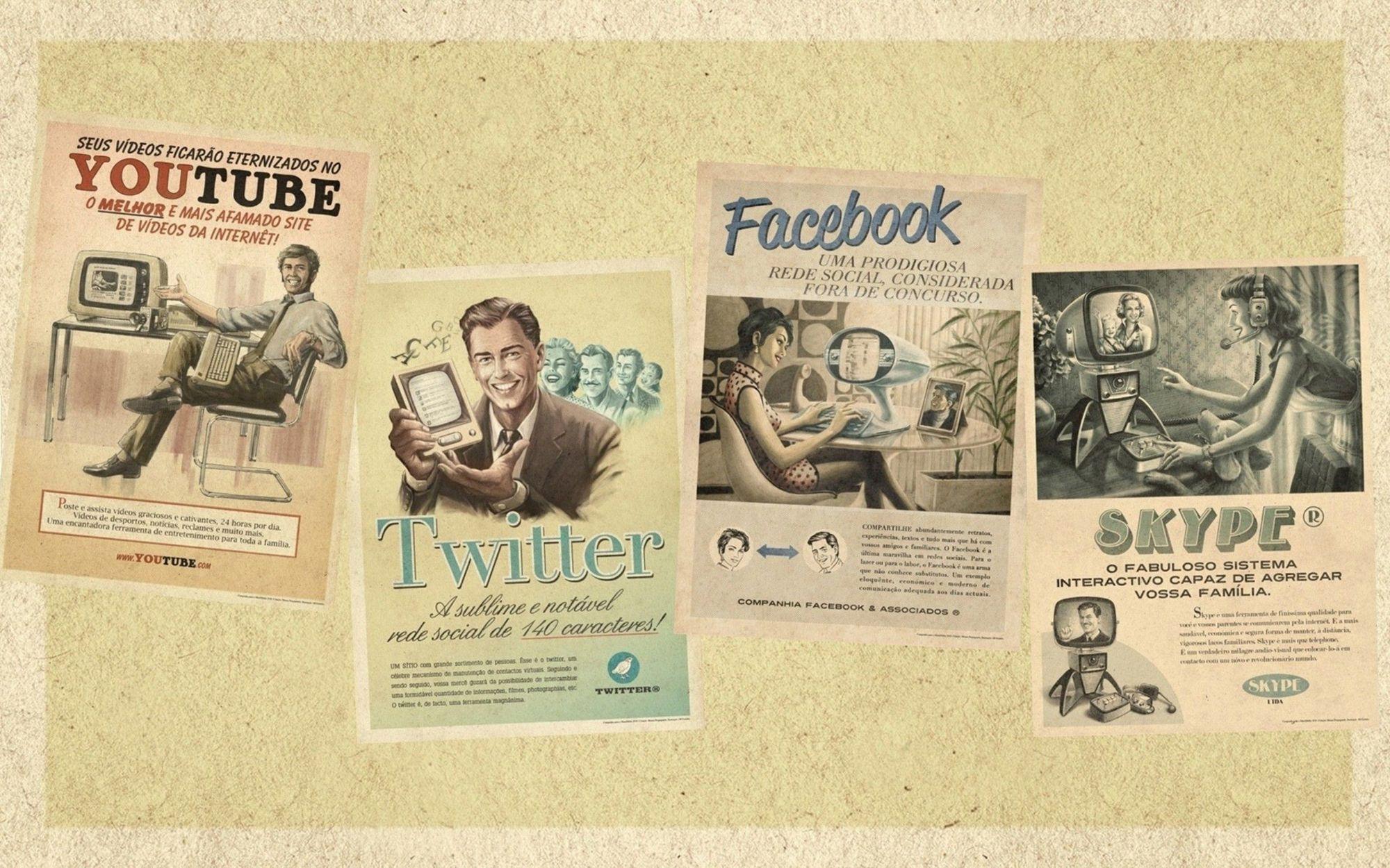 Olika sociala medier illustrerade med affischer som har utseende från 1950-talets reklam. YouTube, TWitter, Facebook och Skype